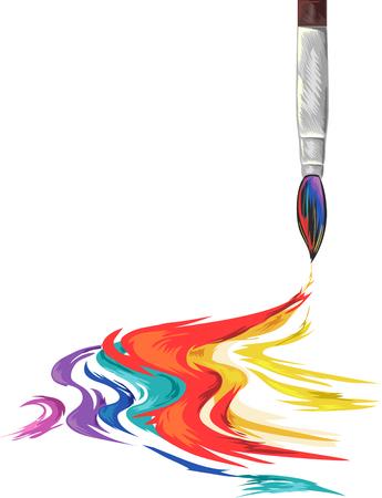 インク色の虹を広がっている絵筆のイラスト 写真素材