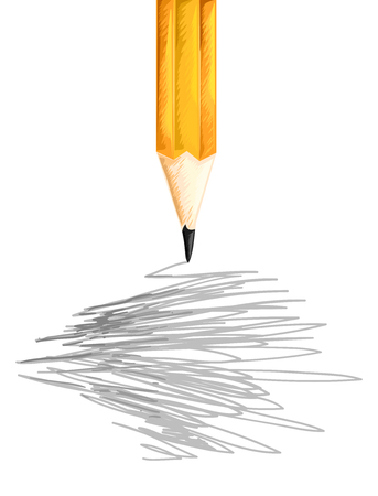 scribbling: Illustration of a Pencil Scribbling Random Things