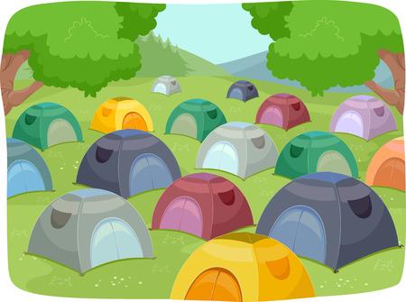 夏天露营地的例证充满帐篷