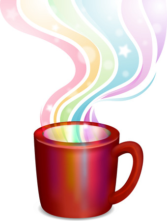 steamy: Illustration of a Cup with Rainbow Steam Coming from It - eps10 Stock Photo