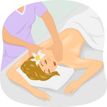 Illustration of a Girl Getting a Massage at a Spa Stock Photo