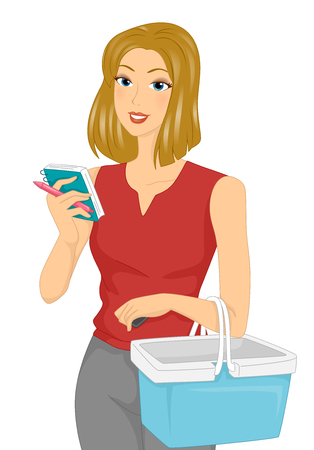 shopping list: Illustration of a Girl Checking the Items on Her Shopping List
