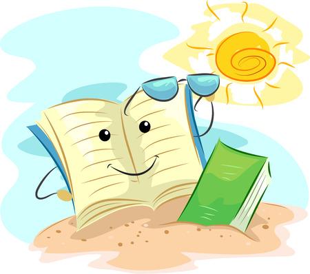 lectura: Ilustración de la mascota de un libro de lectura junto a la playa Foto de archivo