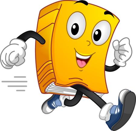 Mascot Illustratie van een boek draait op volle toeren