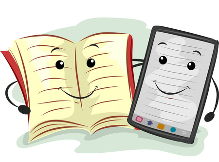 paperback: Mascot Illustration Featuring a Paperback and an E-book Reader Stock Photo