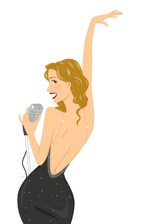 clip art: Illustration of a Curvy Girl Striking a Pose While Holding the Mic