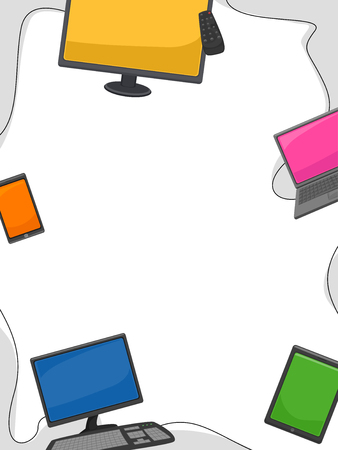 netbooks: Frame Illustration Featuring Different Gadgets and Electronic Devices Stock Photo