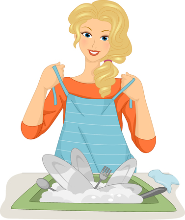 Illustration of a Female Dishwasher Putting an Apron On