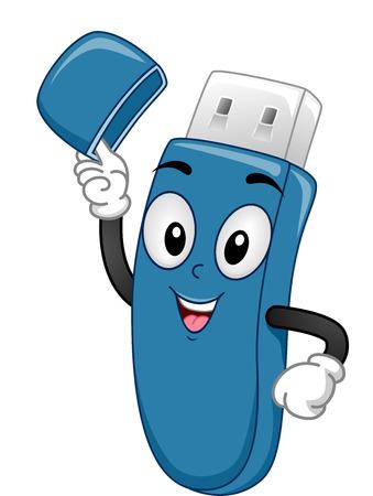 usb stick: Mascot Illustration of a USB Stick Lifting its Cap Stock Photo