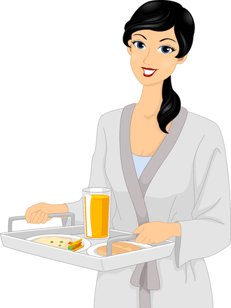 bathrobe: Illustration of a Girl in a Bathrobe Carrying a Breakfast Tray