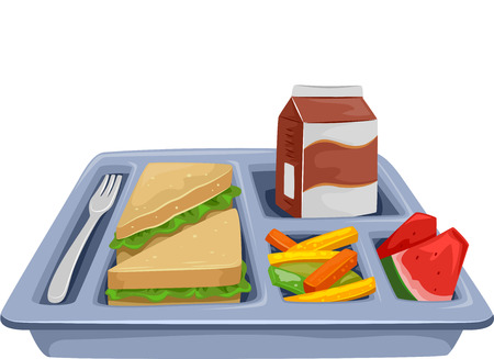 almuerzo: Ilustración de una bandeja de comida llena de comida saludable para el almuerzo