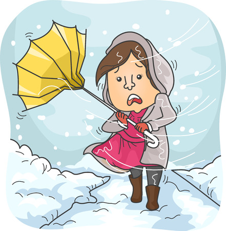 winds: Illustration of a Woman Braving Heavy Winds and Snowfall