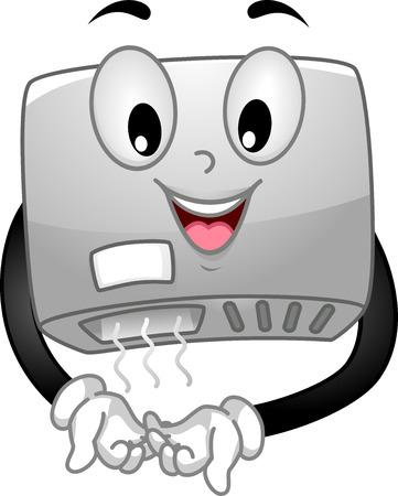 lavarse las manos: Mascot Ilustración de un secador de manos que seca sus manos