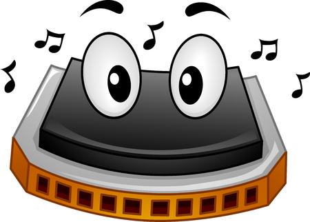 음악 노트에 둘러싸여 하모니카의 마스코트 그림