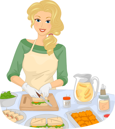 preparing: Illustration of a Girl Slicing Bread While Preparing Snacks Stock Photo
