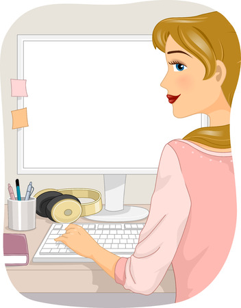 Illustration of a Girl Using a Desktop Computer