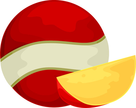 edam: Illustration of a Ball of Edam Cheese with a Slice Sitting Beside It Stock Photo