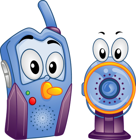 family isolated: Mascot Illustration of a Digital and Video Baby Monitor Stock Photo
