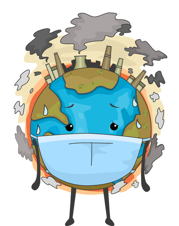 contaminacion aire: Mascot Ilustración de la Tierra con una máscara quirúrgica hacer frente a la contaminación del aire