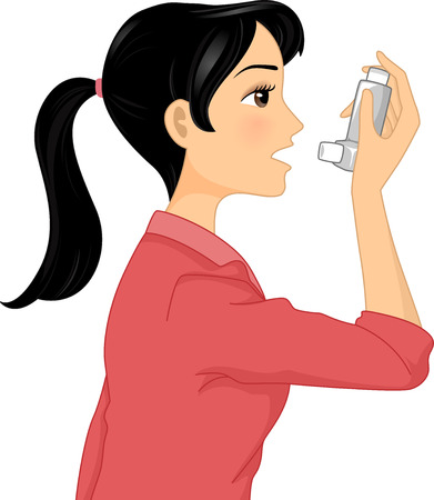 asthma: Illustration of a Girl Directing the Nozzle of an Inhaler Towards Her Mouth