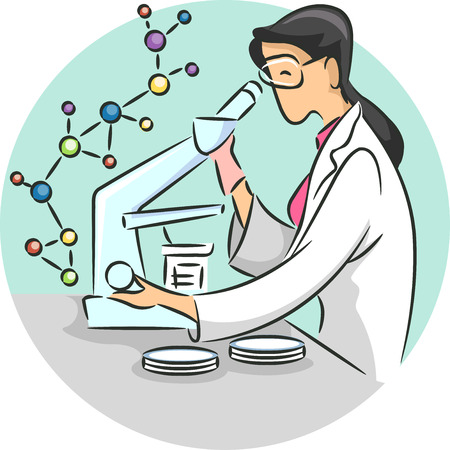 conducting: Illustration of a Female Scientist Conducting Chemistry Related Research in a Laboratory Stock Photo