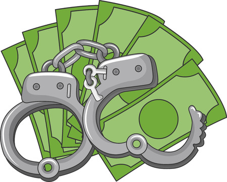 extortion: Illustration of a Pair of Handcuffs Sitting on Top a Pile of Money Stock Photo
