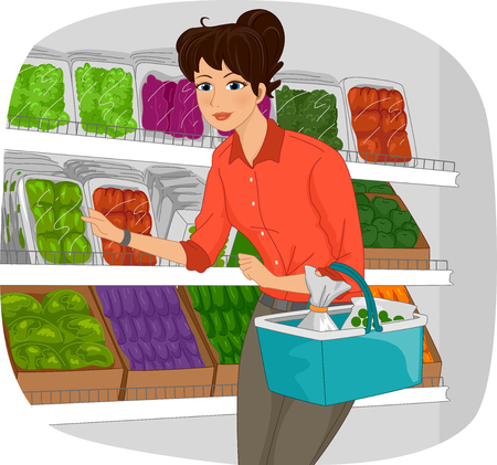 produce: Illustration of a Girl in a Grocery Checking the Produce Section Stock Photo