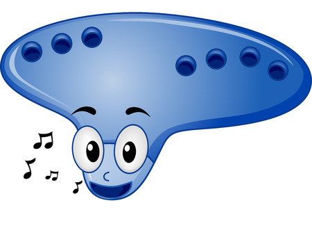 cartoonize: Mascot Illustration of an Ocarina Surrounded by Music Notes