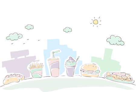 sketchy: Sketchy Illustration of a Line of Food Commonly Served at Fast Food Chains Stock Photo