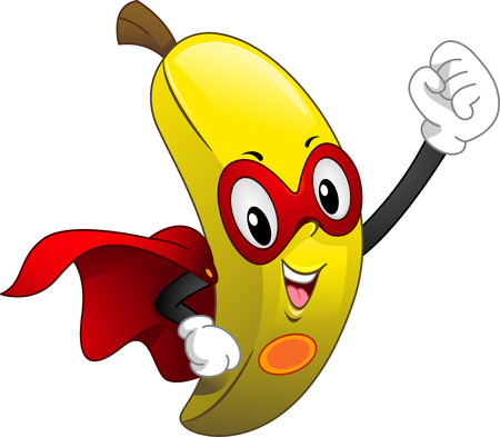 Mascot Illustration of a Banana Wearing a Cape and a Mask Stock Photo