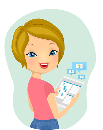 remittance: Illustration of a Girl Using Her Tablet Computer to Make a Bank Transfer Stock Photo
