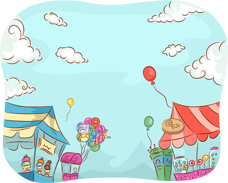 Illustration of Carnival Stores Selling a Variety of Goods Stock Photo