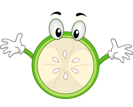 limon caricatura: La mascota Ilustración de un limón verde con los brazos abiertos Foto de archivo