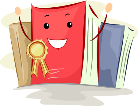 awarded: Mascot Illustration of a Book Awarded with a Bestseller Ribbon