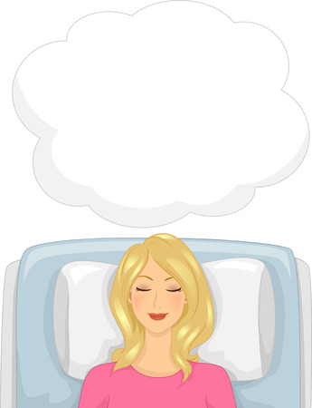 Illustration of an Unconscious Girl Undergoing Hypnotherapy Imagens