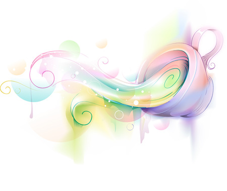 spilling: Fancy Illustration of a Cup Spilling with Colors - eps10