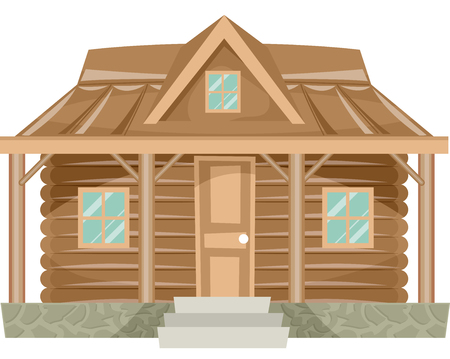 Illustration Featuring the Facade of a Log Cabin Stock Photo