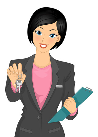 Illustration of a Female Real Estate Broker Handing Keys Over
