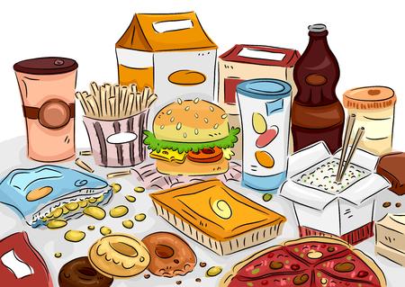 comida chatarra: Ilustración de un manojo de comida chatarra dispersas por toda la mesa