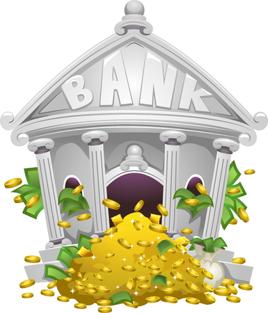 depository: Illustration of a Bank Filled with Piles of Money and Gold Stock Photo