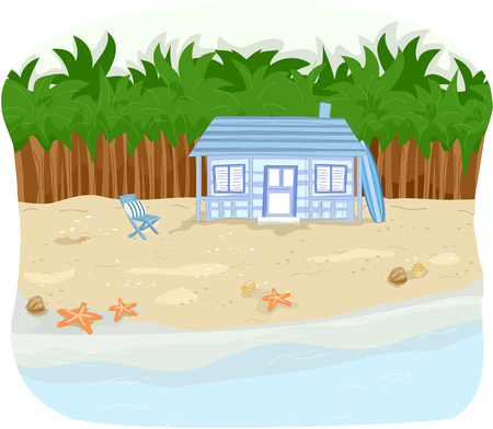 beachfront: Illustration of a Beachfront Cabin with Rows of Palm Trees Behind