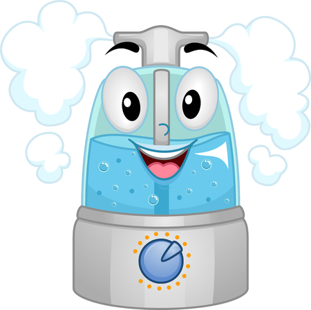 humidity: Mascot Illustration of a Humidifier Filled with Water