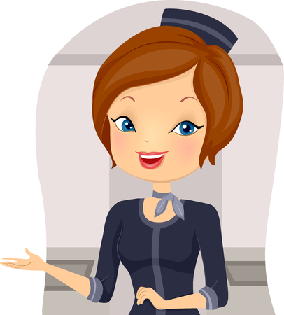 Illustration of a Stewardess Giving Plane Passengers a Warm Welcome