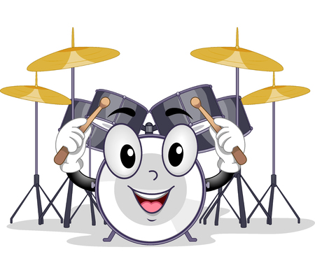 drumset: Mascot Illustration of a Drum Holding a Pair of Drum Sticks