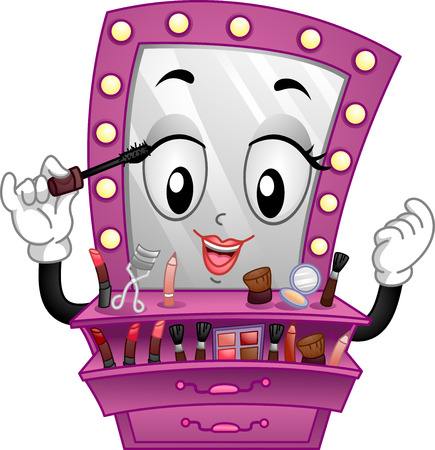 make up products: Mascot Illustration of a Vanity Mirror Applying Make Up