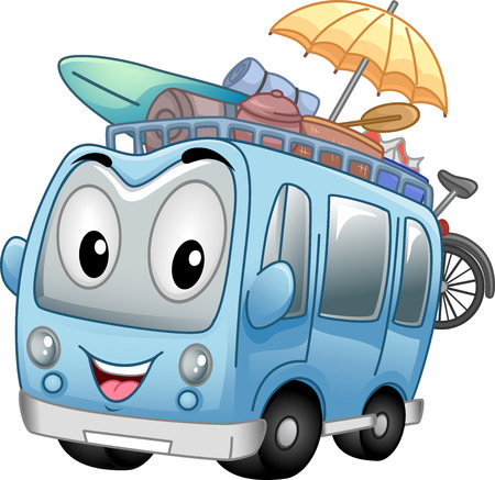 headed: Mascot Illustration of a Tour Bus Headed for the Beach