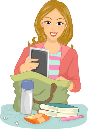 college girl: Illustration of a Girl Putting Assorted Items in Her Bag