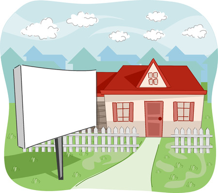 land development: Illustration of a House with a For Sale Sign in Front of its Yard Stock Photo