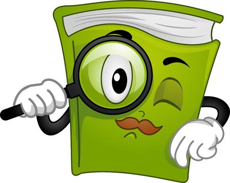 literatura: Mascot Ilustración de un libro que sostiene una lupa Foto de archivo
