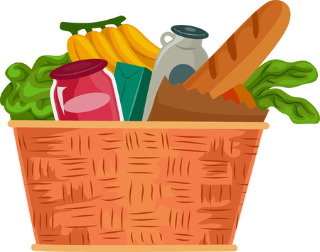 food basket: Illustration of a Grocery Basket Filled with Food Supplies Stock Photo